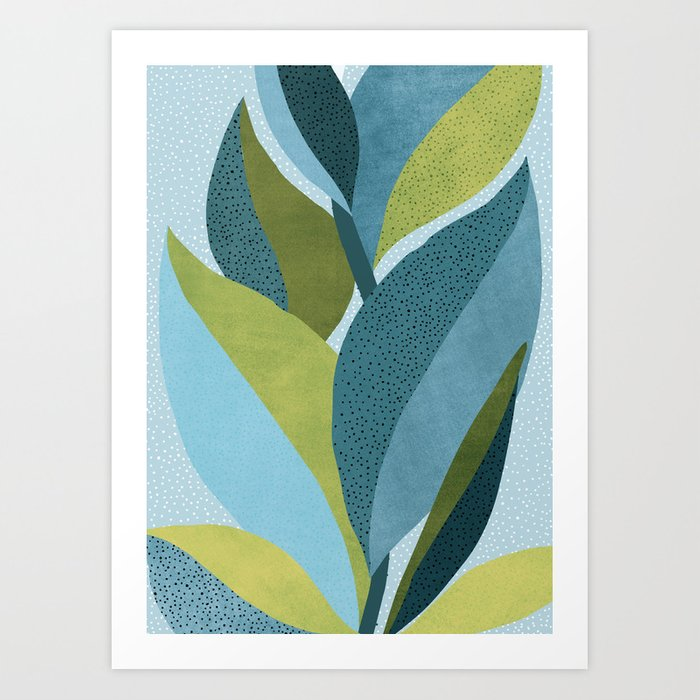 In The Shadows / Abstract Maximal Flora in French Blue and Olive Art Print