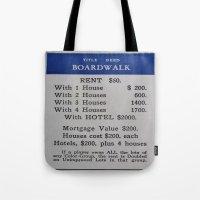 boardwalk empire Tote Bags featuring Boardwalk by Beastie Toyz
