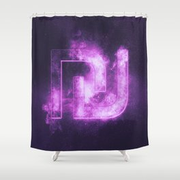 Israeli Shekel currency symbol. Shekel Sign. Monetary currency symbol. Abstract night sky background Shower Curtain