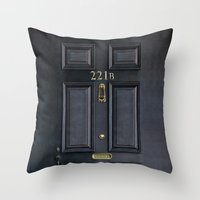 kindle Throw Pillows featuring Classic Old sherlock holmes 221b door iPhone 4 4s 5 5c, ipod, ipad, tshirt, mugs and pillow case by Three Second