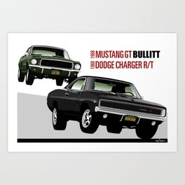 Ford Mustang and Dodge Charger from Bullitt Art Print