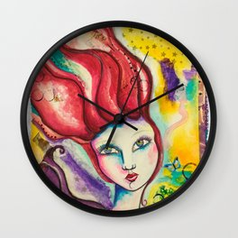Flame - Gold Lotus Oracle Wall Clock
