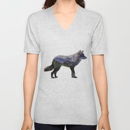 The Rocky Mountain Gray Wolf Unisex V-Neck