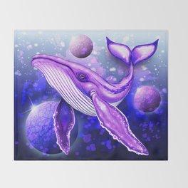 Cyber Whale on Ultra Violet Deep Space Ocean Throw Blanket