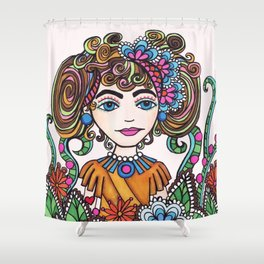 Style Girl - No 21 - Doodle Drawing Shower Curtain