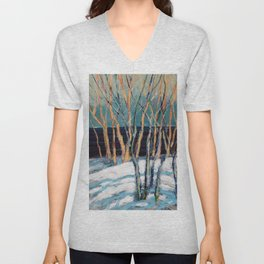 White Birch Grove / Dennis Weber / ShreddyStudio Unisex V-Neck