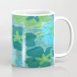 Floral batik in blues and greens Coffee Mug