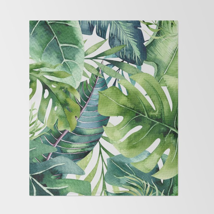 Tropical Jungle Leaves Throw Blanket