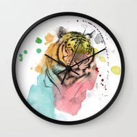 tiger Wall Clocks featuring tiger by mark ashkenazi