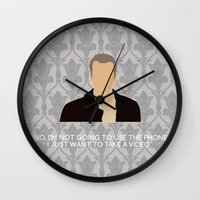 greg guillemin Wall Clocks featuring His Last Vow - Greg Lestrade by MacGuffin Designs