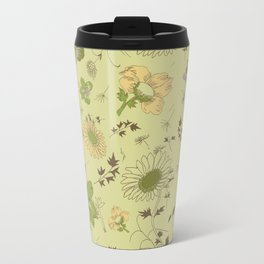 large flowers - greens Travel Mug