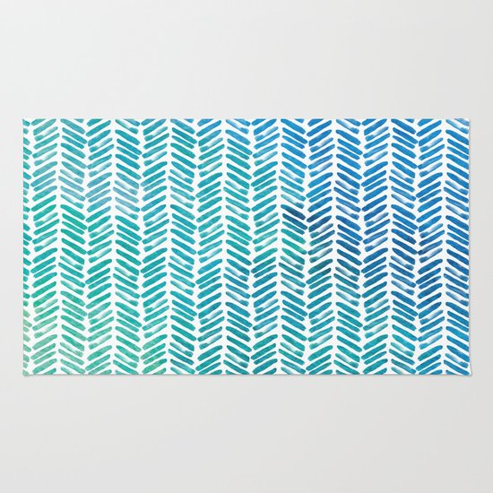 Handpainted Herringbone Chevron Pattern-small-aqua