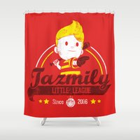 league Shower Curtains featuring Tazmily little league by TeeKetch