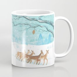 Winter Roe deers Illustration Coffee Mug