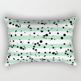 Pastel Goth - Mint Stripes and Black Splatter Rectangular Pillow
