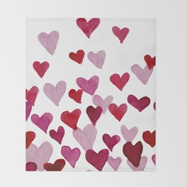 Valentine's Day Watercolor Hearts - pink Throw Blanket