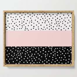 Pink white black watercolor polka dots Serving Tray