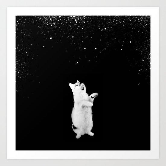 Kitty See Snow Art Print