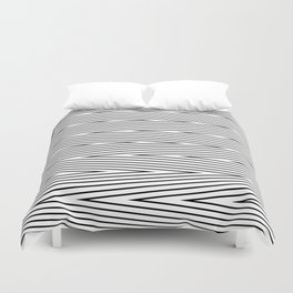 Abstract black and white Zigzag pattern . Fine lines 2 . Duvet Cover