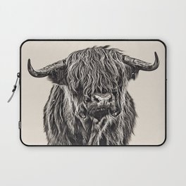 Vintage Painting of Highland Cow Laptop Sleeve