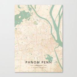 Phnom Penh, Cambodia - Vintage Map Canvas Print