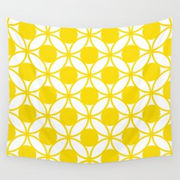 Geometric Floral Circles Summer Sun Shine Bright Yellow Wall Tapestry