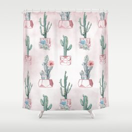 Desert Potted Cactus and Succulents Rose Gold Pink Shower Curtain