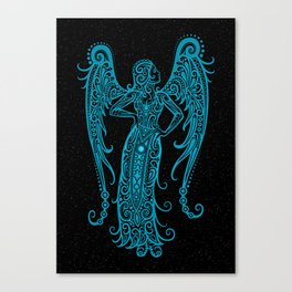 Blue Virgo Zodiac Sign in the Stars Canvas Print