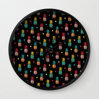 pineapples Wall Clocks featuring Pineapples! by Rendra Sy