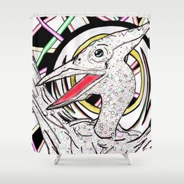 Inked Pterodactyl Shower Curtain