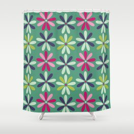 Fashion Flowers Teal Style Shower Curtain