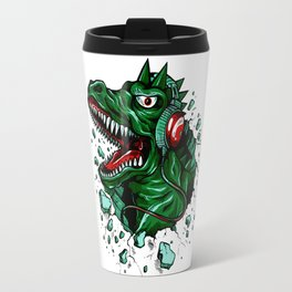 Dino with Headphones Green British Racing Travel Mug