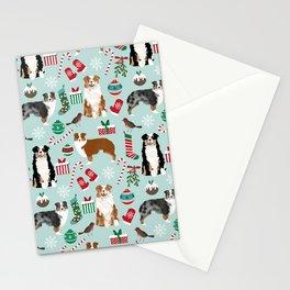 Australian Shepherd christmas festive holiday dog breed gifts for holidays Stationery Cards