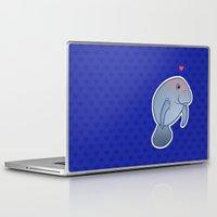 manatee Laptop & iPad Skins featuring Manatee Love by Joumana Medlej
