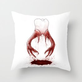 Tooth Horns Throw Pillow