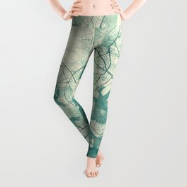 Helsinki Map Blue Vintage Leggings