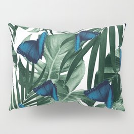 Tropical Butterfly Jungle Leaves Pattern #1 #tropical #decor #art #society6 Pillow Sham