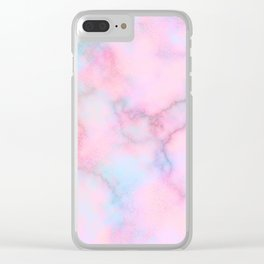 Blush pink teal watercolor trendy marble Clear iPhone Case