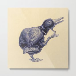 Duck in Black Latex Metal Print