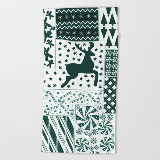 Christmas Green Quilt Beach Towel