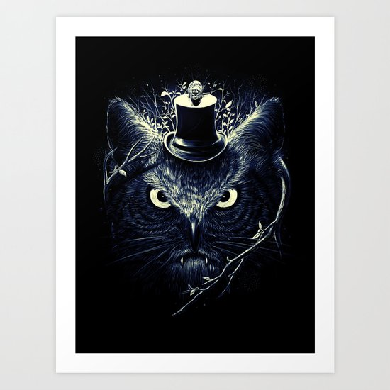 Meowl (Blue) Art Print