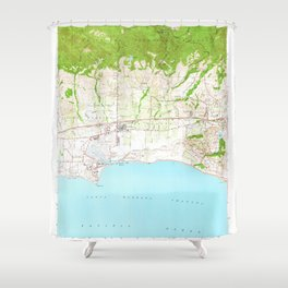 Goleta, CA from 1950 Vintage Map - High Quality Shower Curtain
