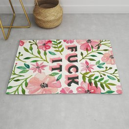 Fuck It – Pink & Green Floral Palette Rug