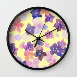 Watercolor Flowers and Bubbles Pale Yellow and Purple Wall Clock
