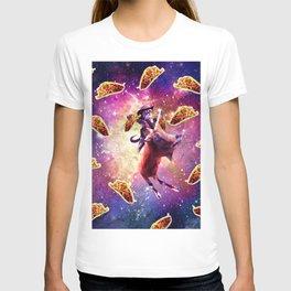 Cowboy Space Cat On Goat Unicorn - Taco T-shirt