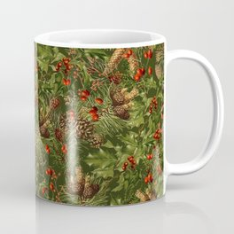 Traditional Holly Christmas Pattern Coffee Mug