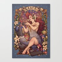 nouveau Canvas Prints featuring Gamer girl Nouveau by Medusa Dollmaker
