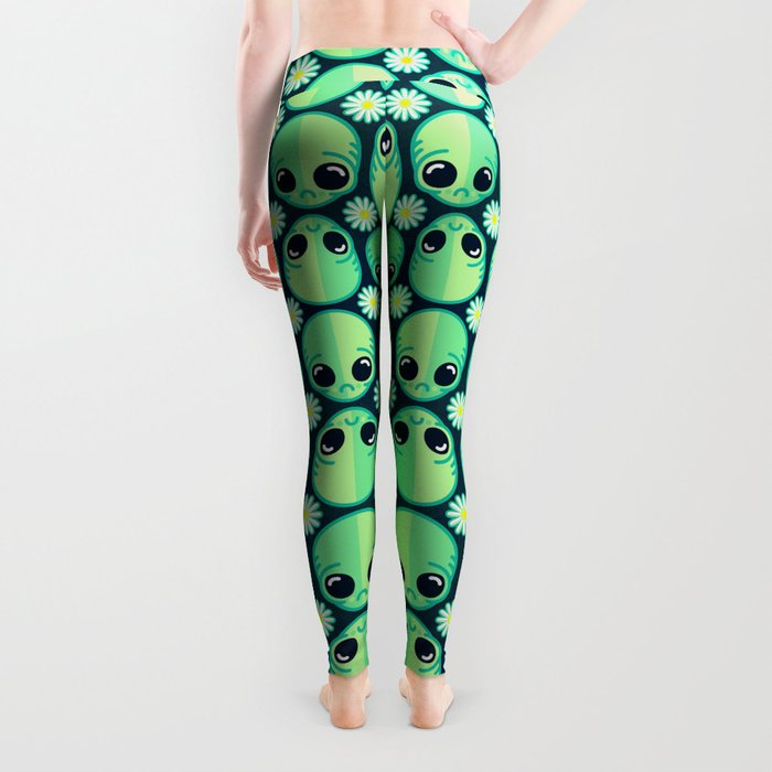 Sad Alien and Daisy Nineties Grunge Pattern Leggings