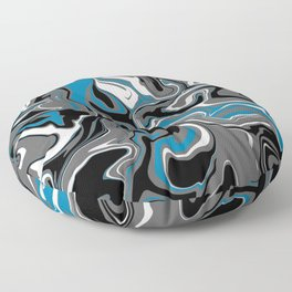 Blue Grey and White Marble Melt Floor Pillow