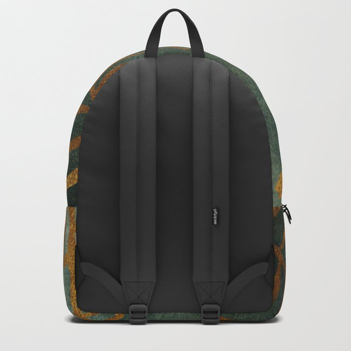 Golden Cycas leaves on dark green canvas Backpack